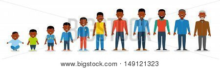 African american ethnic people generations at different ages. Man african american ethnic aging - baby child teenager young adult old. Flat illustration