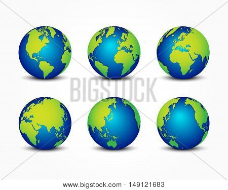 all sides of planet ( around the world ) ( earth conservation concept )