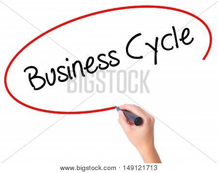 Women Hand Writing Business Cycle With Black Marker On Visual Screen.