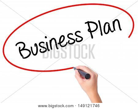 Women Hand Writing  Business Plan With Black Marker On Visual Screen
