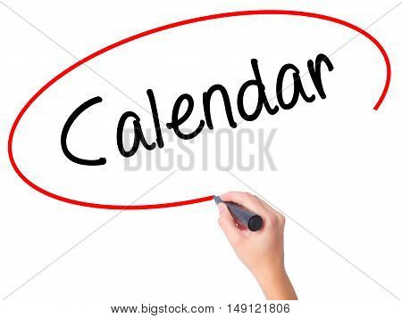 Women Hand Writing Calendar   With Black Marker On Visual Screen