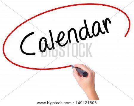 Women Hand Writing Calendar   With Black Marker On Visual Screen