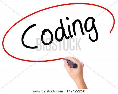 Women Hand Writing Coding With Black Marker On Visual Screen