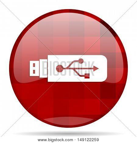 usb red round glossy modern design web icon