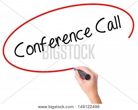 Women Hand Writing Conference Call With Black Marker On Visual Screen.