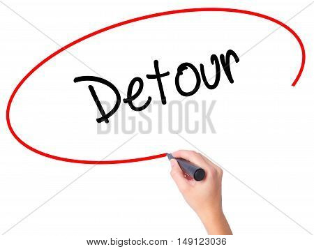 Women Hand Writing Detour  With Black Marker On Visual Screen