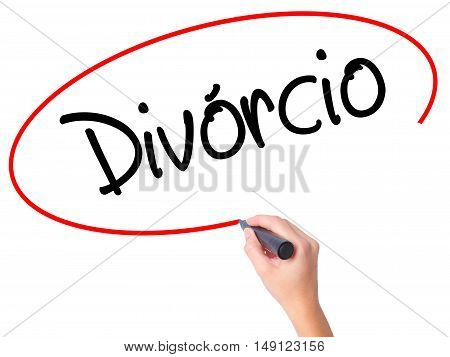 Women Hand Writing Divorcio (divorce In Portuguese) With Black Marker On Visual Screen.