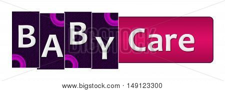 Baby care text written over pink purple background.