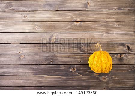 pumpkins on wooden background with copy space.