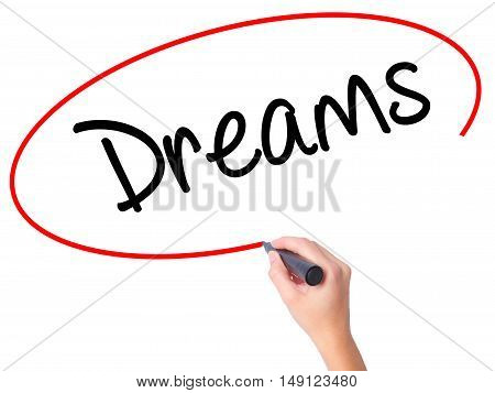 Women Hand Writing Dreams With Black Marker On Visual Screen