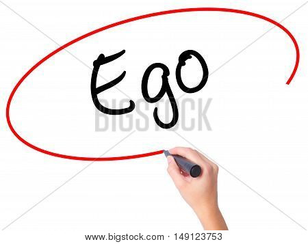 Women Hand Writing Ego With Black Marker On Visual Screen