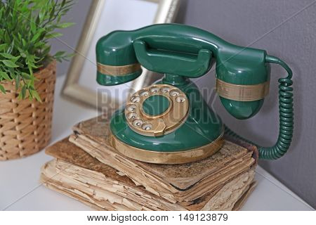 Vintage telephone in interior