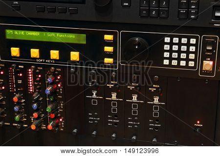Mixer in a recording studio, close up