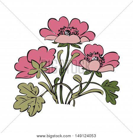 Floral bush retro on white background vector hand drawn decorative flower vintage contour closeup branch with flowers print design