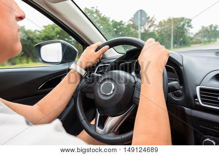 Driving a sport car