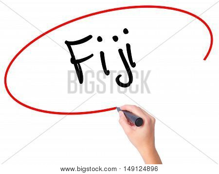 Women Hand Writing Fiji  With Black Marker On Visual Screen.