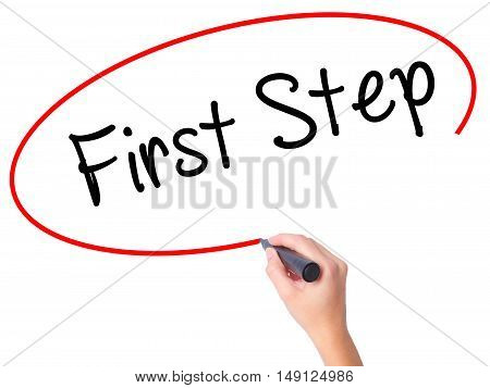 Women Hand Writing First Step  With Black Marker On Visual Screen