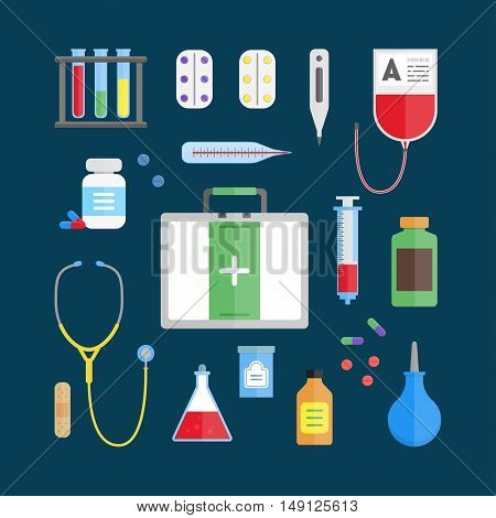 Medical Healthcare Equipment Icon Set on a Blue Background. Flat Design Style. Vector illustration