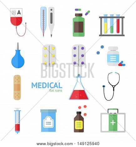 Medical Healthcare Equipment Icon Set on a Light Background. Flat Design Style. Vector illustration