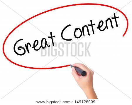 Women Hand Writing Great Content  With Black Marker On Visual Screen