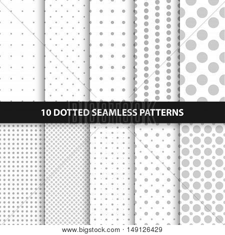 Collection of simple seamless dotted patterns. White and gray textures.