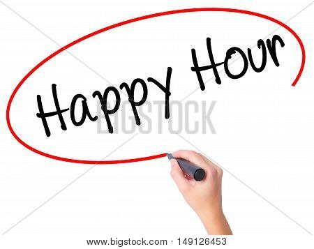 Women Hand Writing Happy Hour With Black Marker On Visual Screen