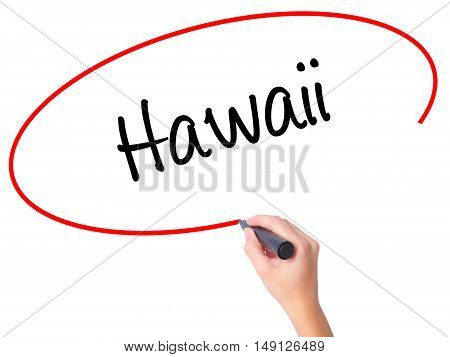 Women Hand Writing Hawaii  With Black Marker On Visual Screen