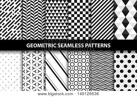 Geometric patterns - vector seamless collection. Black and white texture.