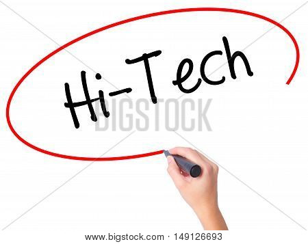 Women Hand Writing Hi-tech With Black Marker On Visual Screen.