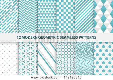 Collection of geometric seamless patterns. The modern turquoise design. Swatches included.