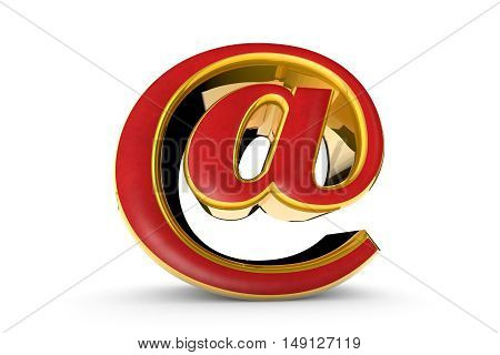 E-mail red & gold symbol. Isolated over white. Available in high-resolution and several sizes to fit the needs of your project. 3D illustration rendering.