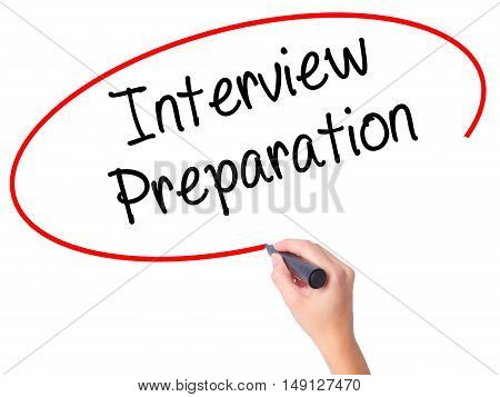 Women Hand Writing Interview Preparation With Black Marker On Visual Screen