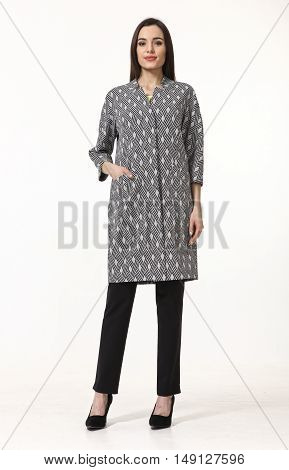 indian business woman with straight hair style in official gray coat high heel shoes full body length isolated on white