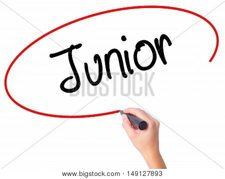Women Hand Writing Junior With Black Marker On Visual Screen