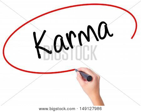 Women Hand Writing Karma  With Black Marker On Visual Screen