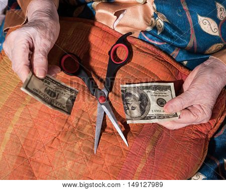 Woman Holding Torned One Hundred Dollar Bill