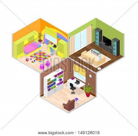 Office, Children and Living Room. Isometric View. Interior with Furniture. Vector illustration