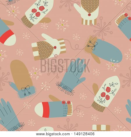 Winter mittens and gloves vector seamless pattern. Winter elements. Can be used as invitation, envelope, greeting card, brochure, flyer.
