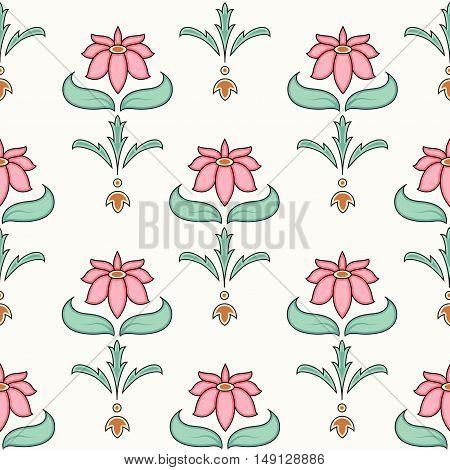 Decorative flower seamless pattern on white background