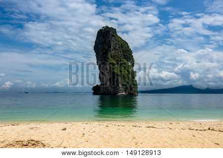 Poda Island at Krabi in Thailand landscape with sea and rock formation