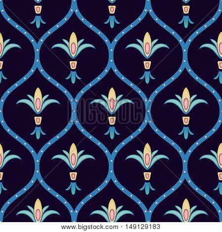 Decorative folk flower seamless pattern jn dark background