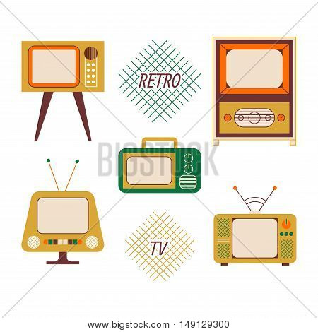 Retro television isolated flat icon set with different design