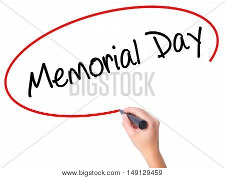 Women Hand Writing Memorial Day With Black Marker On Visual Screen.