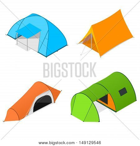 Color Camping Tent Set. Tourist Camp. Vector illustration