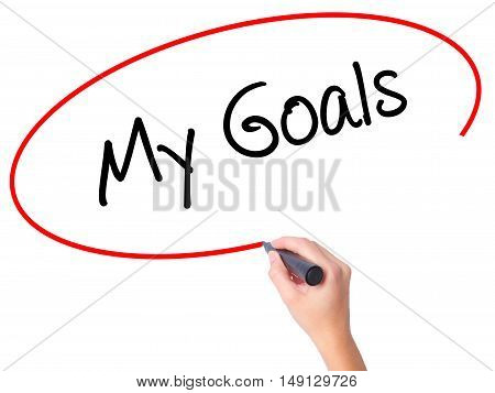 Women Hand Writing  My Goals With Black Marker On Visual Screen