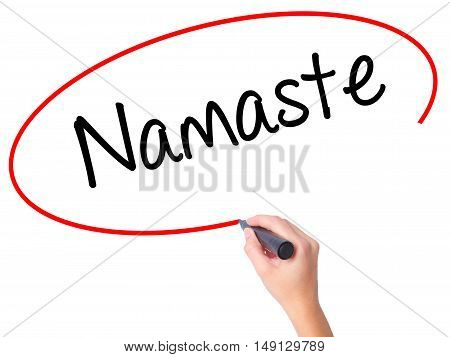 Women Hand Writing Namaste With Black Marker On Visual Screen
