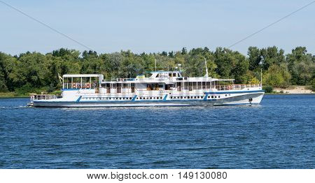 Kiev, Ukraine - August 29, 2016: Pleasure Boat With Tourists Sailing On The River