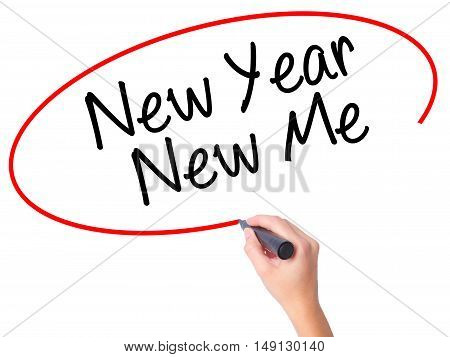 Women Hand Writing New Year New Me With Black Marker On Visual Screen