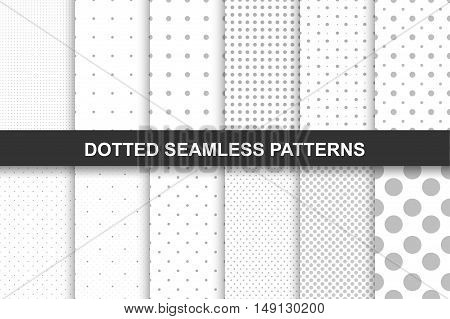 Collection of simple seamless monochrome dotted patterns. You can use like cloth textures.