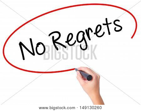 Women Hand Writing No Regrets With Black Marker On Visual Screen